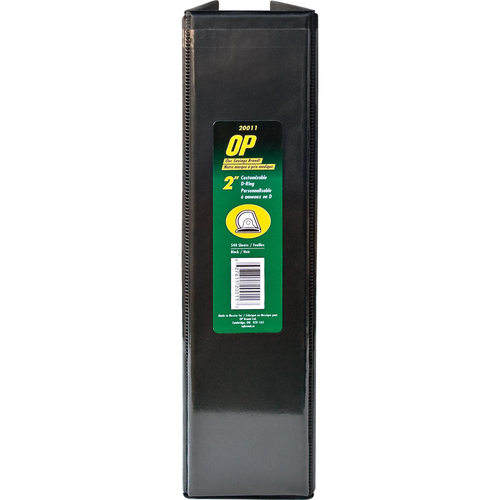 "OP Brand D-Ring Customizable Binder - Letter - 8-1/2"" x 11"" Sheet Size - D Ring Fastener - 2"" (50.8mm) Binder Fastener Capacity - Black - 6/box"