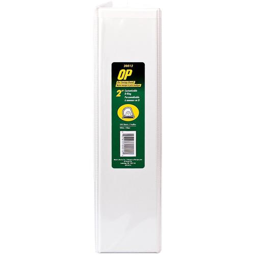 "OP Brand D-Ring Customizable Binder - Letter - 8-1/2"" x 11"" Sheet Size - D Ring Fastener - 2"" (50.8mm) Binder Fastener Capacity - White - 6/box"