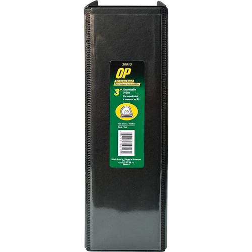 "OP Brand D-Ring Customizable Binder - Letter - 8-1/2"" x 11"" Sheet Size - D Ring Fastener - 3"" (76.2mm) Binder Fastener Capacity - Black - 6/box"