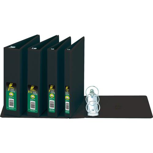 "OP Brand Round Ring Customizable Binder - Letter - 8-1/2"" x 11"" Sheet Size - Round Ring Fastener - 5/8"" (15.9mm) Binder Fastener Capacity - Black - 12/box"