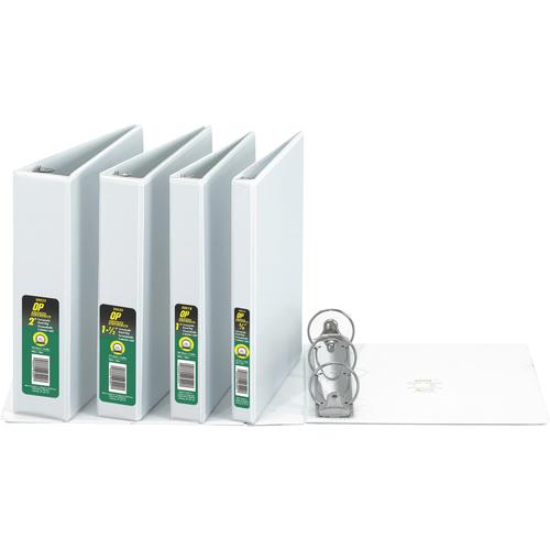 "OP Brand Round Ring Customizable Binder - Letter - 8-1/2"" x 11"" Sheet Size - Round Ring Fastener - 1"" (25.4mm) Binder Fastener Capacity - White - 12/box"
