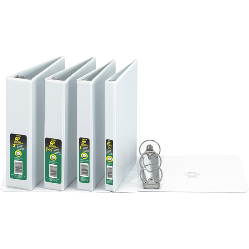 "OP Brand Round Ring Customizable Binder - Letter - 8-1/2"" x 11"" Sheet Size - Round Ring Fastener - 1.5"" (38.1mm) Binder Fastener Capacity - White - 6/box"