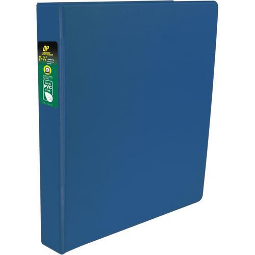 "OP Brand Standard Ring Binder - 1 1/2"" Binder Capacity - Round Ring Fastener(s) - 2 Internal Pocket(s) - Blue - Label Holder, Open and Closed Triggers"