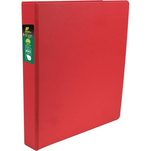 """OP Brand Standard Ring Binder - 1 1/2"""" Binder Capacity - Round Ring Fastener(s) - 2 Internal Pocket(s) - Red - Label Holder, Open and Closed Triggers"""