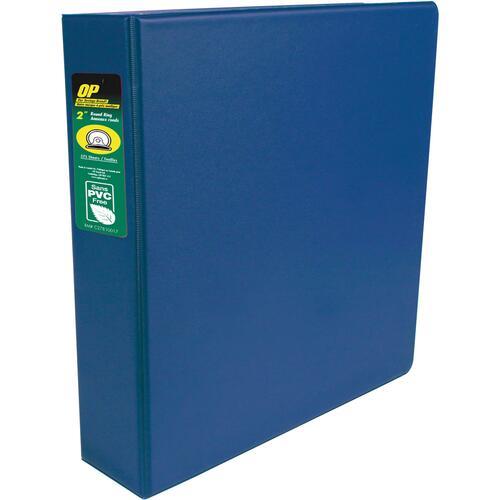 "OP Brand Standard Ring Binder - 2"" Binder Capacity - Round Ring Fastener(s) - 2 Internal Pocket(s) - Blue - Label Holder, Open and Closed Triggers"