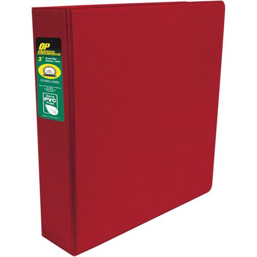 """OP Brand Standard Ring Binder - 2"""" Binder Capacity - Round Ring Fastener(s) - 2 Internal Pocket(s) - Red - Label Holder, Open and Closed Triggers"""