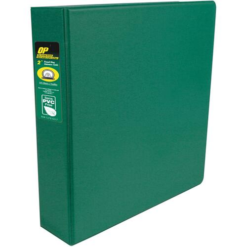 "OP Brand Standard Ring Binder - 2"" Binder Capacity - Round Ring Fastener(s) - 2 Internal Pocket(s) - Green - Label Holder, Open and Closed Triggers"