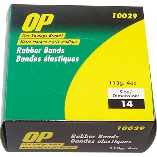 """OP Brand Rubber Bands - Size: #14 - 2"""" (50.80 mm) Length x 60 mil (1.52 mm) Width - 1 Box - Natural"""