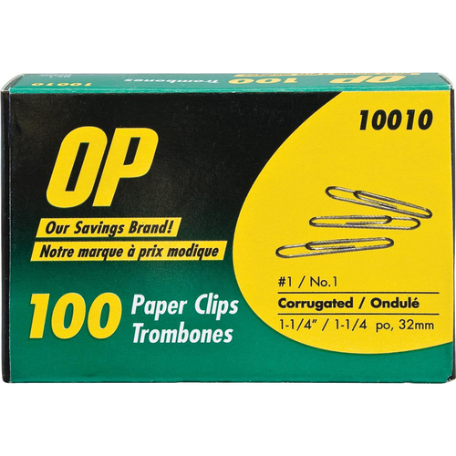 """OP Brand Corrugated Paper Clip - No. 1 - 1.25"""" Length - Silver"""