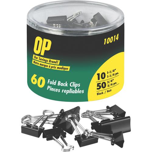 "OP Brand Foldback Clip - 0.75"" , 1.25"" Width Capacity - 60 / Pack - Black"