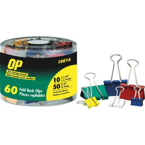 "OP Brand Foldback Clip - 0.75"" , 1.25"" Width Capacity - 60 / Pack - Assorted"
