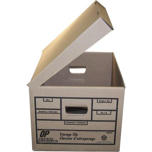 """OP Brand Attached Lid Storage Box - 300 lb - Stackable - External Dimensions: 10"""" Height x 12"""" Width x 15"""" - Flip Top Lid"""