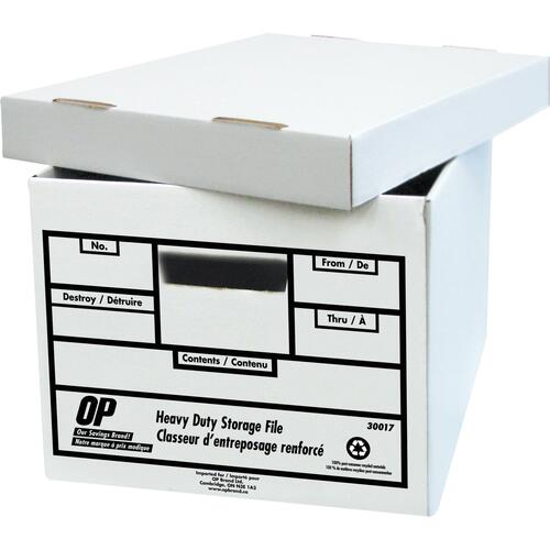 """OP Brand Heavy Duty Storage Box - 850 lb - Stackable - Heavy Duty - External Dimensions: 10"""" Height x 12"""" Width x 15"""" - 100% Recycled - White"""
