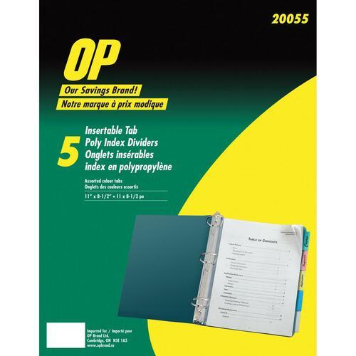 "OP Brand Poly Index Divider - 5 Tab(s)/Set - 8.5"" x 11"" - Assorted Divider"