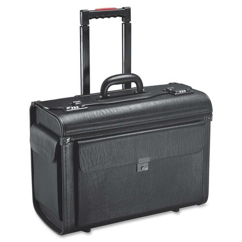 """Holiday SA0801 Carrying Case (Roller) Notebook, File Folder - Black - Vinyl - Handle - 14"""" (355.60 mm) Height x 19"""" (482.60 mm) Width x 9"""" (228.60 mm) Depth - 1 Pack"""