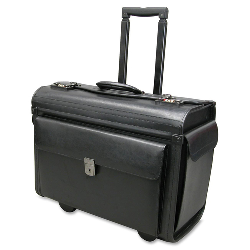 """Holiday NT0803 Carrying Case (Roller) Notebook, File Folder - Black - Leather - Handle - 14"""" (355.60 mm) Height x 19"""" (482.60 mm) Width x 9"""" (228.60 mm) Depth - 1 Pack"""