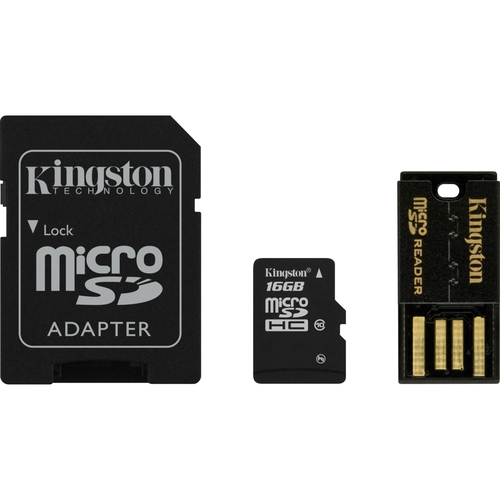 Kingston 16GB microSDXC Flash Card With SD Adapter and USB Adapter Model
