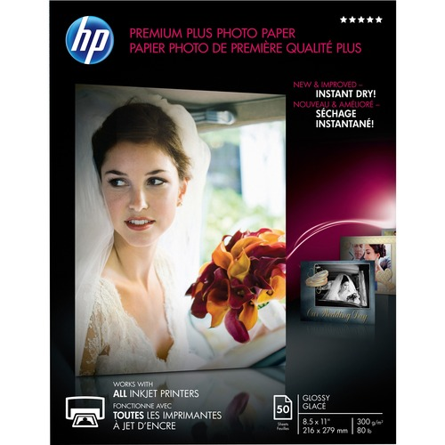 """HP Premier Plus Inkjet Photo Paper - White - Letter - 8 1/2"""" x 11"""" - 80 lb Basis Weight - Glossy - 50 / Pack"""