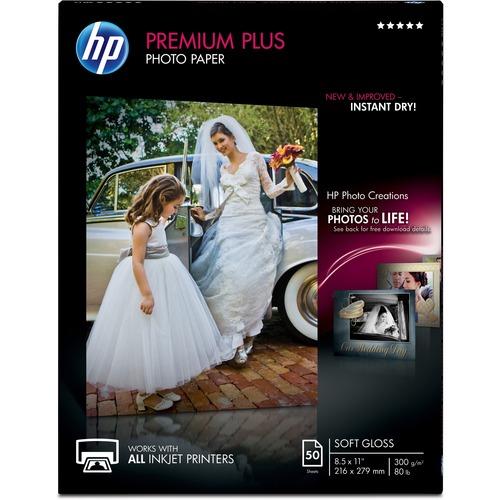 "HP Premier Plus Inkjet Photo Paper - White - Letter - 8 1/2"" x 11"" - 80 lb Basis Weight - Soft Gloss"