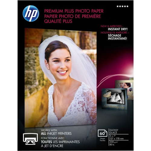 """HP Premium Plus Inkjet Photo Paper - White - Recycled - 5"""" x 7"""" - 80 lb Basis Weight - Glossy - 60 / Pack - Design for the Environment (DfE)"""