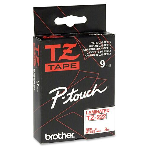 """Brother TZe Red on White Label Tape - 23/64"""" - Rectangle - Thermal Transfer - White - 1 Each"""