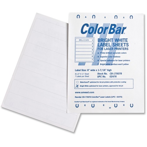 "Smead ColorBar Label 02476 - 8"" x 1 7/16"" Length - Rectangle - Laser - White - 7 / Sheet - 1008 / Pack"