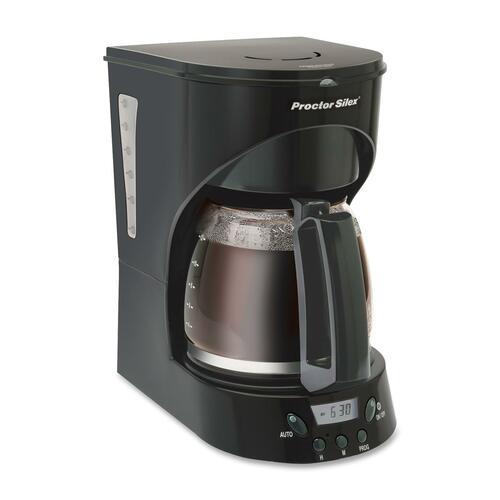 Proctor Silex Easy Morning 43574Y Coffeemaker - 12 Cup(s) - Multi-serve - Timer - Black