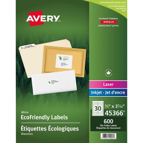 """Avery® EcoFriendly File Folder Label - 3 7/16"""" x 2/3"""" Length - Rectangle - Laser, Inkjet - White - Paper - 600 / Pack"""