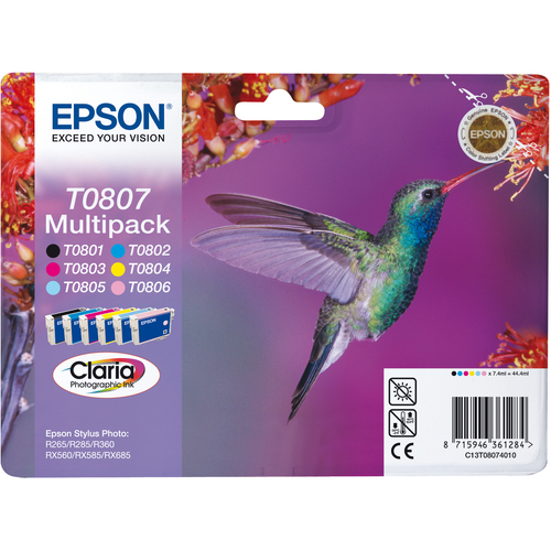 Epson Claria T0807 Ink Cartridge - Cyan, Magenta, Yellow, Black