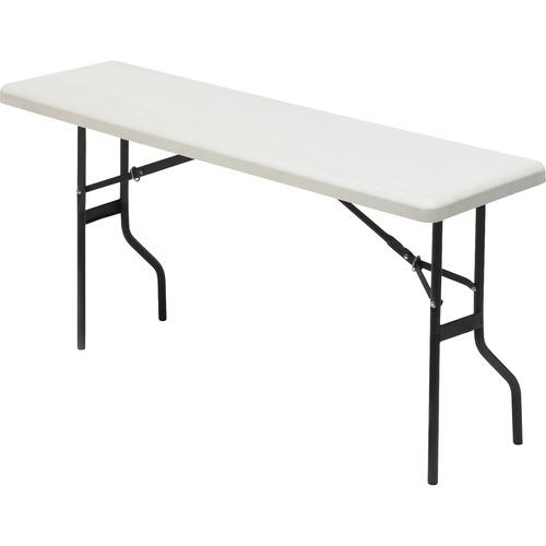 "Iceberg IndestrucTable TOO 1200 Series Folding Table - Rectangle Top - 72"" Table Top Length x 18"" Table Top Width - 29"" Height - Platinum, Powder Coat"