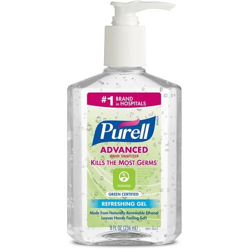 PURELL® Sanitizing Gel - 8 fl oz (236.6 mL) - Pump Bottle Dispenser - Kill Germs - Skin, Hand - Clear - Dye-free, Fragrance-free - 1 Each