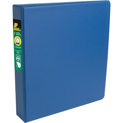 "OP Brand Standard Ring Binder - Round Ring Fastener - 1"" (25.4 mm) Binder Fastener Capacity - 2 Pockets - Blue - 12 / Box"