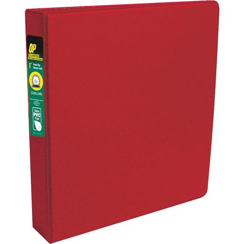 "OP Brand Standard Ring Binder - Round Ring Fastener - 1"" (25.4 mm) Binder Fastener Capacity - 2 Pockets - Red - 12 / Box"
