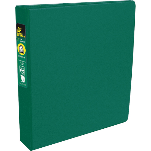 "OP Brand Standard Ring Binder - Round Ring Fastener - 1"" (25.4 mm) Binder Fastener Capacity - 2 Pockets - Green - 12 / Box"
