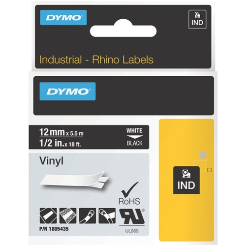 DYMO 1/4IN 6MM WHT PERM POLY .
