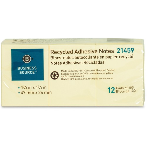 """Business Source Yellow Adhesive Notes - 1.87"""" x 1.37"""" - Rectangle - Unruled - Yellow - Self-adhesive, Removable - 12 / Pack"""