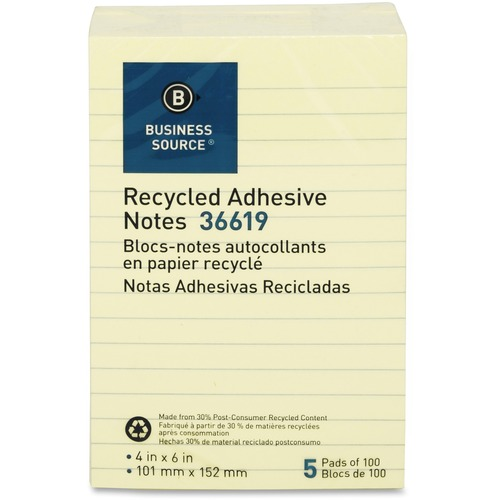 """Business Source Yellow Adhesive Notes - 4"""" x 6"""" - Rectangle - Ruled - Yellow - Self-adhesive, Removable - 5 / Pack"""