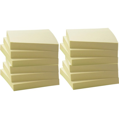 """Business Source Yellow Adhesive Notes - 3"""" x 3"""" - Square - Unruled - Yellow - Self-adhesive, Removable - 12 / Pack"""