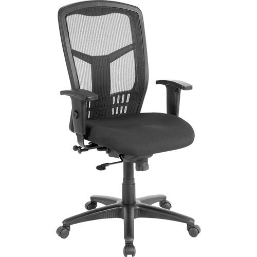 """<p>Executive High-back Swivel Chair cradles you during a hard day at work. The ergonomic mesh back supports the natural curvature of your back for less strain during work at the computer or meetings at your desk. Synchronized control tilt reclines the back at a 2-to-1 ratio to the seat angle so you can find the perfect position and relax. Adjust the seat at the depth you need with the seat-glide mechanism. It allows the cushioned, fabric-upholstered seat to travel forward and back and then lock into your preferred position. Arms with polyurethane padding adjust in height and width. Other functions include pneumatic seat-height adjustment from 18"""" to 21-1/2"""", 360-degree swivel and tilt tension. Five-star nylon base is equipped with smooth-rolling casters for easily moving the chair where needed. Weight capacity is 275 lb. High-back chair meets the CA117 fire-retardant standard.</p>"""