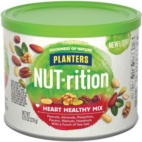 Planters Kraft NUT-rition Heart Healthy Mix - Resealable Container - Almond, Pecan, Hazelnut, Pistachio, Peanut, Walnut - 276.4 g - 1 Each