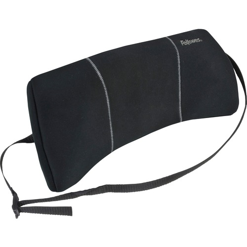 """Fellowes Lumbar Back Support - Adjustable Strap, Low Profile Design, Soft Brushed Cover - 12"""" x 3.1"""" x 5.2"""" - Black"""
