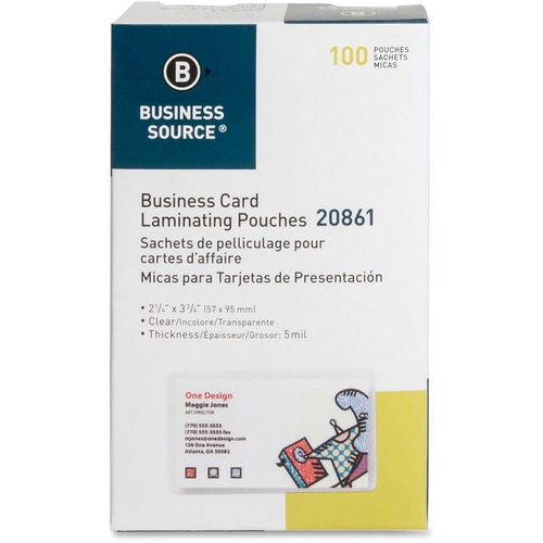 """Business Source 5 mil Business Card Laminating Pouches - Laminating Pouch/Sheet Size: 2.25"""" Width x 3.75"""" Length x 5 mil Thickness - for Business Card - Pre-trimmed, Moisture Resistant, Fade Resistant - Clear - 100 / Box"""