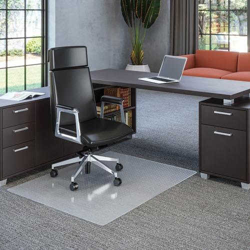 """Deflecto Polycarbonate Chairmat for Carpet - Carpeted Floor - 53"""" Length x 45"""" Width x 62.5 mil Thickness - Rectangle - Polycarbonate - Clear"""