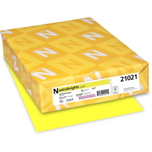 """Astrobrights Colored Cardstock - Laser, Inkjet Print - Letter - 8.5"""" x 11"""" - 65 lb Basis Weight - 176 g/m² Grammage - No - 250 / Pack - Lift-Off Lemon (yellow)"""