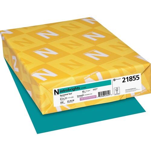"""Astrobrights Laser, Inkjet Printable Multipurpose Card - Terrestrial Teal - 30% - Letter - 8 1/2"""" x 11"""" - 65 lb Basis Weight - 250 / Pack - FSC, Green Seal"""
