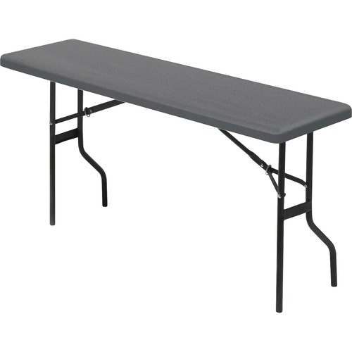 """Iceberg IndestrucTable TOO 1200 Series Foldlng Table - Rectangle Top - 72"""" Table Top Length x 18"""" Table Top Width - 29"""" Height - Charcoal, Powder Coat"""