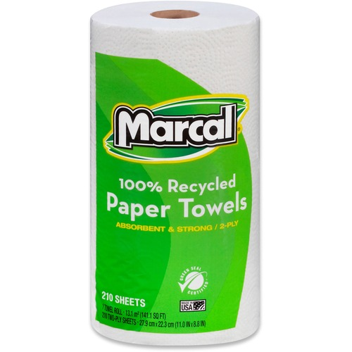 """Marcal 100% Recycled, Jumbo Roll Paper Towels - 2 Ply - 11"""" x 9"""" - 210 Sheets/Roll - White - Fiber Paper - Lint-free, Dye-free, Perforated, Hypoallerg"""