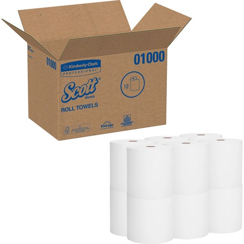 "Scott High-Capacity Hard Roll - 1 Ply - 8"" x 1000 ft - 7.87"" Roll Diameter - White - Paper - Chlorine-free, Soft, Absorbent, Nonperforated, Fragrance-"