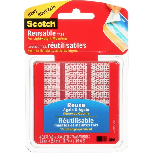 """Scotch Mounting Tab - 1"""" (25.4 mm) Length x 1"""" (25.4 mm) Width - 18 / Pack - Clear"""