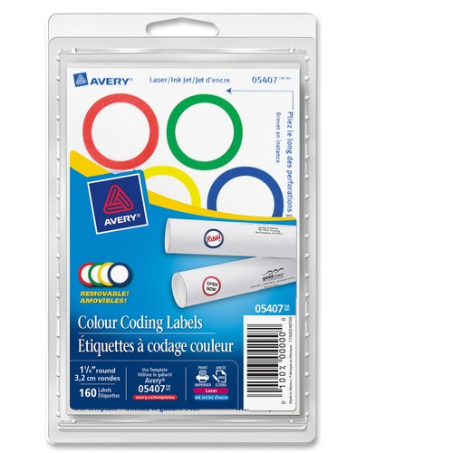 """Avery® Color Coding Round Labels - 1 1/4"""" Diameter - Round - Laser, Inkjet - Red, Blue, Green, Yellow - Paper - 8 / Sheet - 50 Total Sheets - 400 Total Label(s)"""